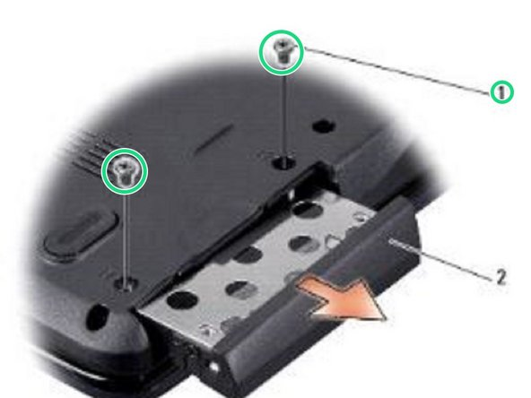Replace the two screws that secure the hard drive assembly to the computer base.