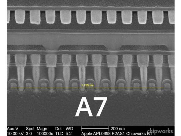 "Image 2/2: But wait! It turns out that the A7′s ""gate pitch"" — the distance between each transistor — is 114 nm, compared to the A6′s 123 nm."