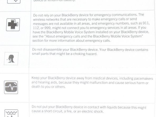 Image 2/2: On the other hand, BlackBerry does warn us not to disassemble our phone because we might find small parts to choke on. Right.