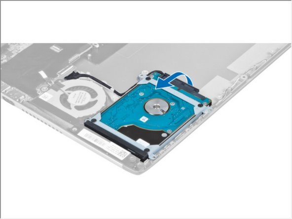 Lift the hard drive to disconnect the hard-drive cable