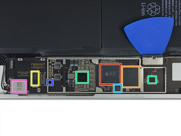 Image 1/1: Apple A9 [https://en.wikipedia.org/wiki/Apple_A9|APL0898|new_window=true] SoC + Samsung K3RG1G10BM-BGCH 2 GB LPDDR4 RAM (as seen in the [https://www.ifixit.com/Teardown/iPhone+6s+Teardown/48170#s107880|iPhone 6s|new_window=true])