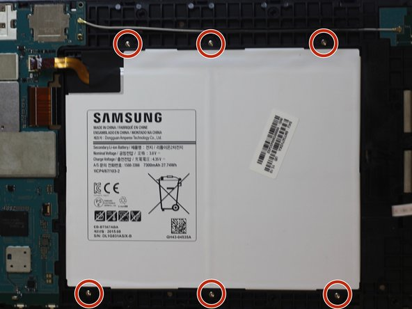 There are a total of six 3mm PH000 screws holding the battery in place. Use a standard Phillips #000 screwdriver to remove all six screws.