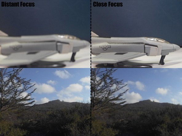 "While facing the back of the camera module, turning the lens all the way clockwise will bring objects 4""-6"" away into focus. Turning the lens all the way counterclockwise will bring distant objects into focus."