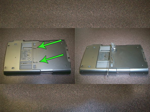 Image 1/1: The arrows in the picture indicate two small holes located at the top of the device. Insert a paper clip or a tack simultaneously into each of these holes and moderately push downward.