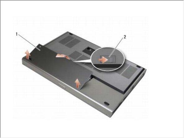 Deslice el pestillo de liberación de la batería y retire la batería.