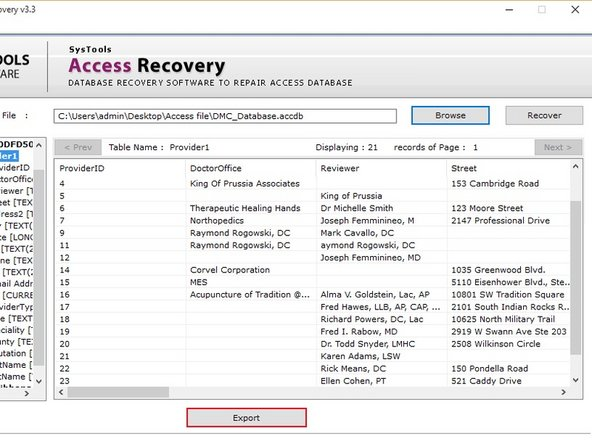 After Successful Recovery , ACCDB Repair Tool Previews complete records with its attributes.
