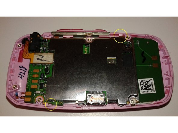 Use blue wedge to separate the two pink tabs above the green circuit board from front body of phone. The tabs are circled in yellow on the photo.