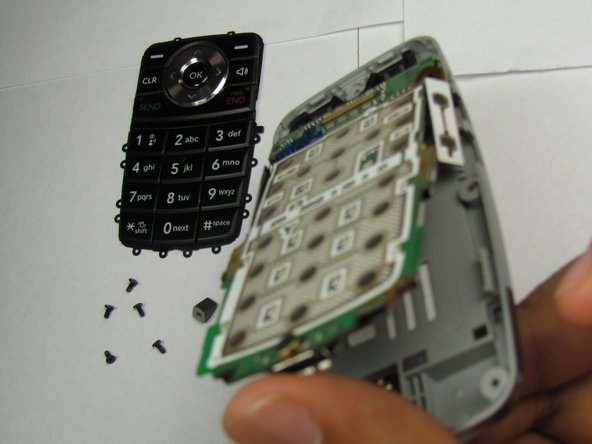 Pry open the phone and remove the keypad and logic board.