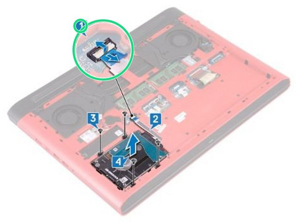 Slide the hard-drive cable into the connector on the system board and close the latch to secure the hard-drive cable.