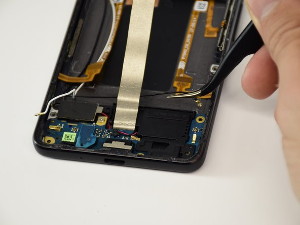 Use the tweezers to pull the black wire on the daughterboard out.