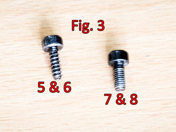 Using the Torx T10 head, unscrew the #5 (Fig. 1), #6, #7 and #8 screws (Fig. 2)