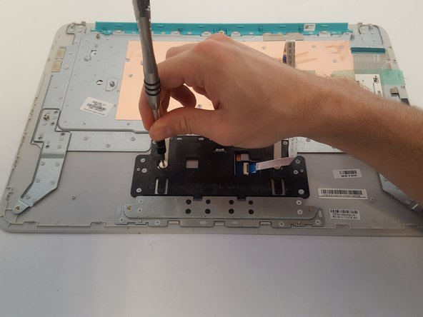 Using a Phillips #000 screwdriver, remove the two 2.4 mm  screws that secure the TouchPad to the keyboard cover.