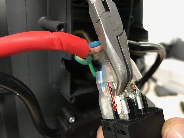 Connecter le cordon secteur (rouge)  au commutateur Marche/Arrêt, en prenant soin de faire coïncider le marron avec le marron (phase)  et le bleu avec le bleu (neutre).