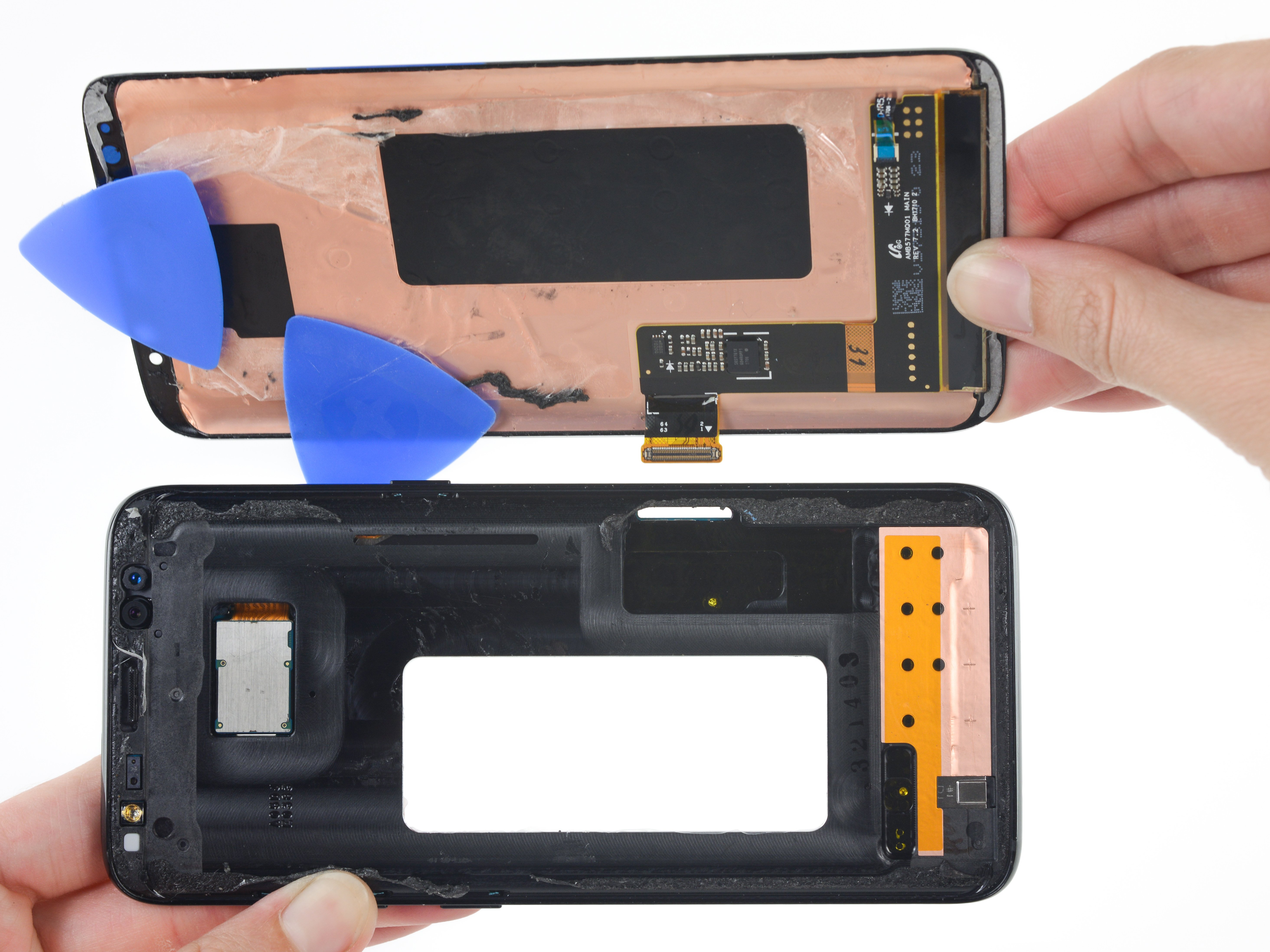 Samsung S9 display assembly opened up.