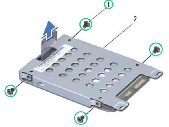 Remove the four screws that secure the hard drive to the hard-drive cage.