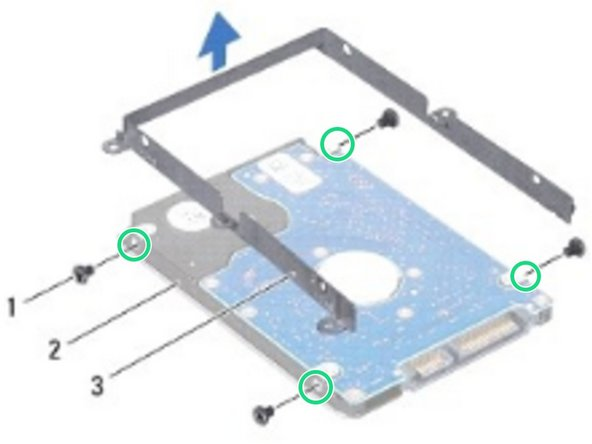 Align the screw holes on the hard-drive bracket with the screw holes on the NEW hard drive and replace the four screws.