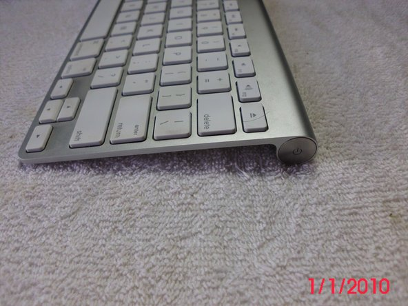 The keyboard's power button is on the right side