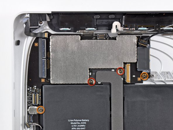 Remove the following screws securing the logic board to the rear panel assembly.