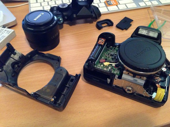 Once you've slipped the front cover's base over the tripod mount, gently pull it away from the camera body.