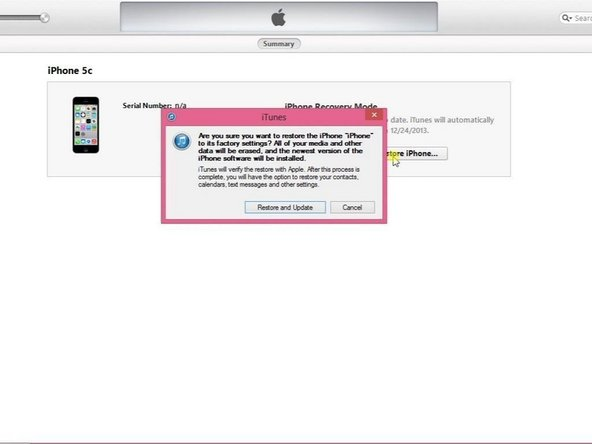 "Select ""Restore iPhone"" and iTunes will download and install the latest firmware for your phone."