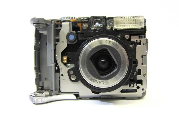 The camera should look like this once the front cover is removed.