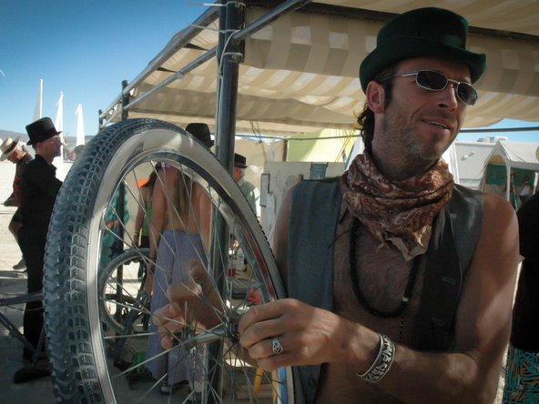 Bike repair at Burning Man