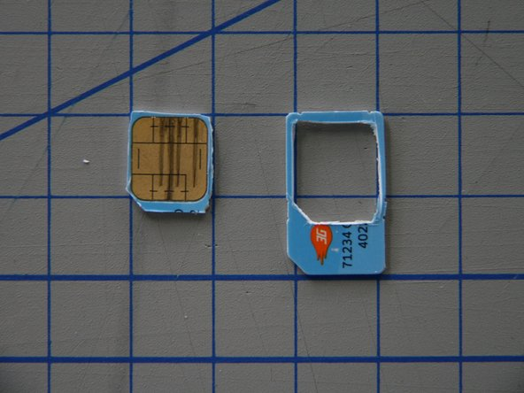 Image 3/3: When you are nearly done, flip the SIM-Card over.  You should be able to see the outline of the cutout you made on the top side.  For a cleaner result, finish cutting the slot from the bottom side.