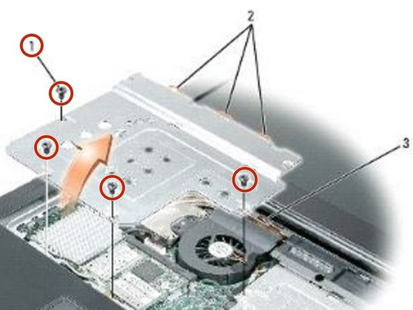 "Remove the four M2.5 x 5-mm screws (labeled ""M2.5x5"") that secure the EMI shield to the system board."