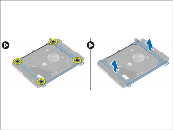 Remove the screws that secure the hard-drive bracket to the hard drive and remove the hard drive bracket from it.