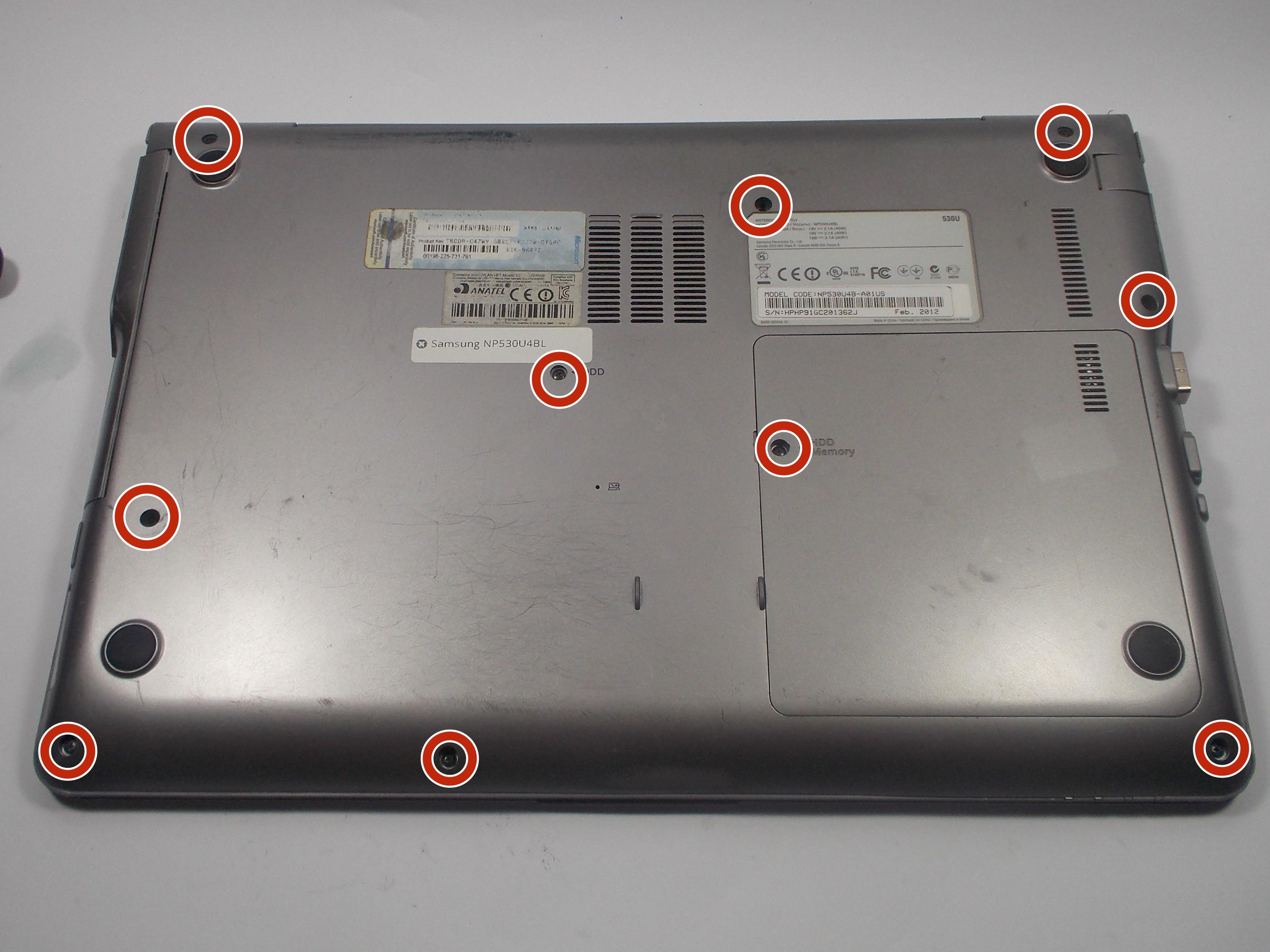 Samsung NP530U4BL Снятие задней крышки
