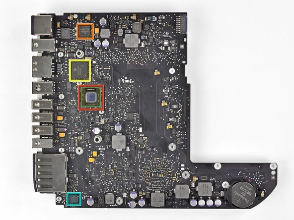Image 1/1: Big players on the top side of the logic board include: