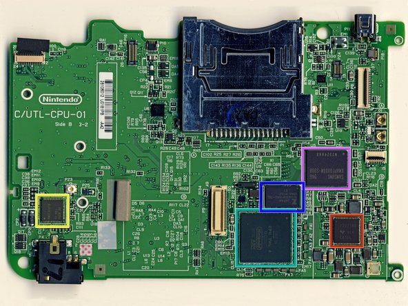 Image 1/2: Samsung 1st generation MoviNAND KMAPF0000M: 256 MB NAND Flash and MMC controller. The integrated MMC controller allows the CPU to offload the complex work of directly talking to the flash memory.