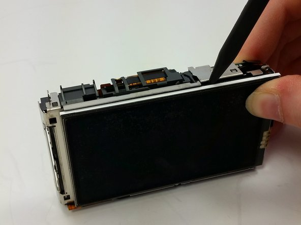 Image 1/3: Flip screen away from body of device.