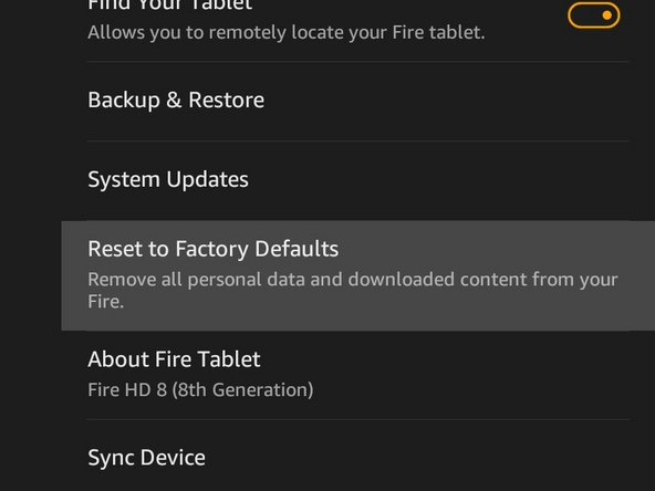 """Tap """"Reset to Factory Defaults"""""""