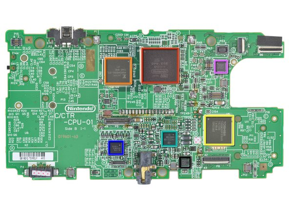 Image 1/1: Chips we've found inside the 3DS motherboard (click [http://guide-images.ifixit.net/igi/ishJaSCOwLkvbLYK|here] for high-res version):