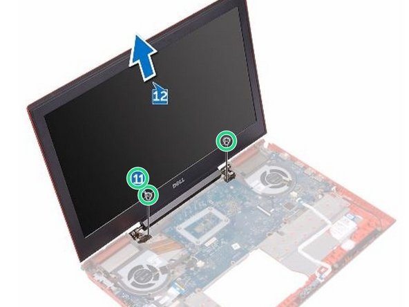 Replace the two screws (M2x2.5) that secure the display assembly to the computer base.