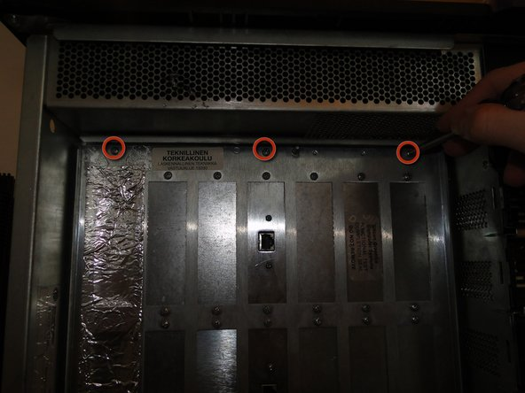 remove these three screws to open the I/O bulkhead door.