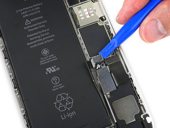 Image 1/1: Take care to '''only''' pry up on the battery connector, and not the socket on the logic board. If you pry up on the logic board socket, you may break the connector entirely.
