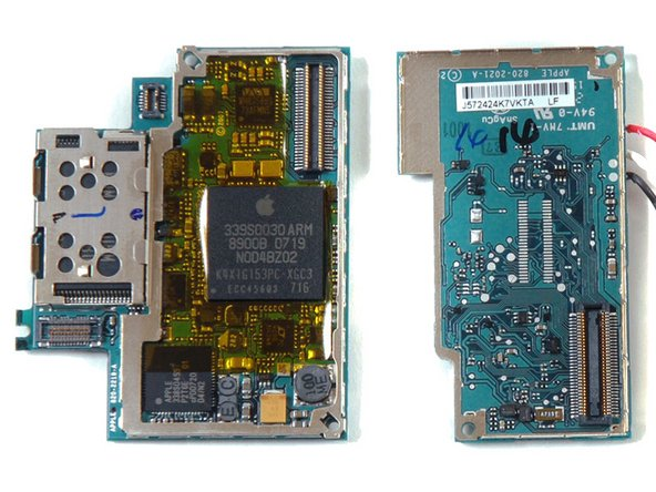 Image 1/1: Samsung chip underneath the metal shield on the left side of the board on the left. Ours reads K9MCGD8U5M. The 4 GB model that Think Secret took apart had K9HBG08U1M on it, which is a 4 GB chip