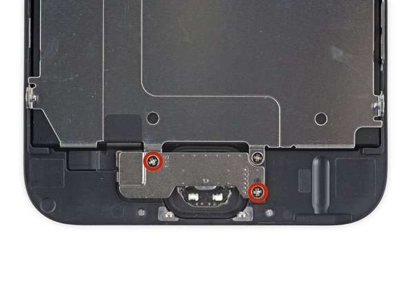 Remove the two 1.9 mm Phillips screws securing the home button bracket.