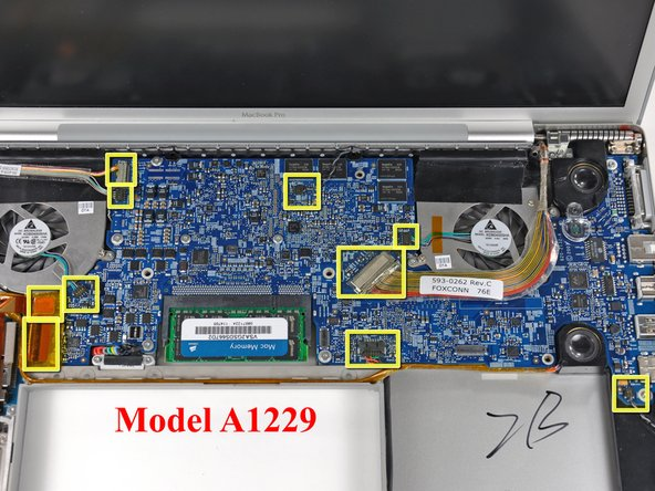 "If you have a MacBook Pro 17"" Model A1229 or A1212, the connectors have different positions and are highlighted in the second and third pictures."