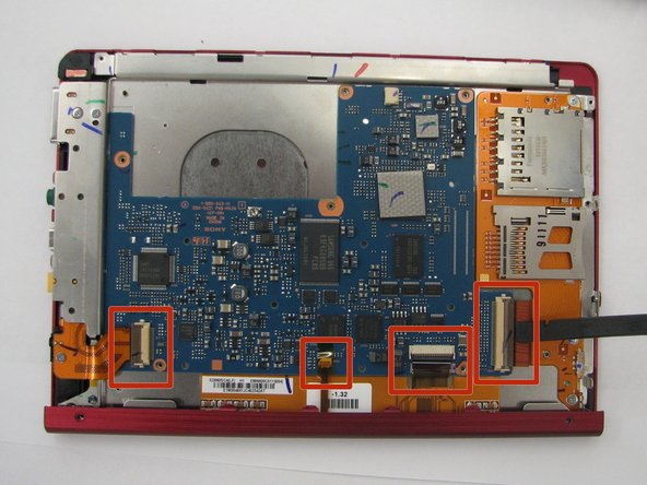Image 1/2: To disconnect the the screen, audio/AC adapter/micro USB ports, and SD card/PRODuo ports pull each orange slip away from their corresponding latch.