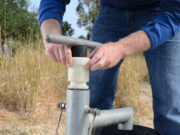 Pull the plastic bushing and handle straight up out of the pump.