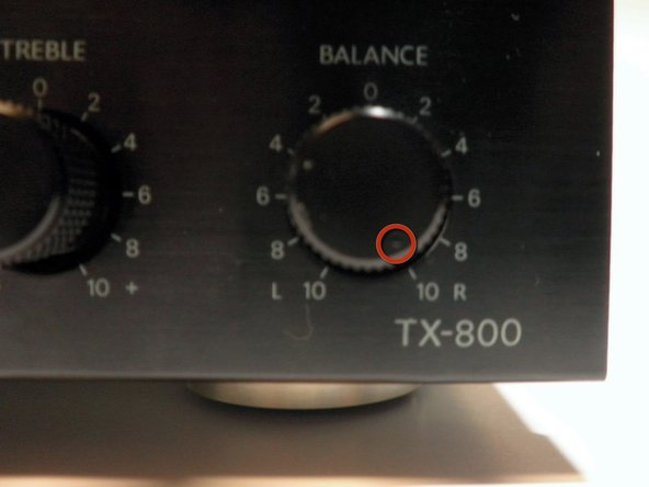 Turning the knob all the way to the right will make the right speaker play all the sound.