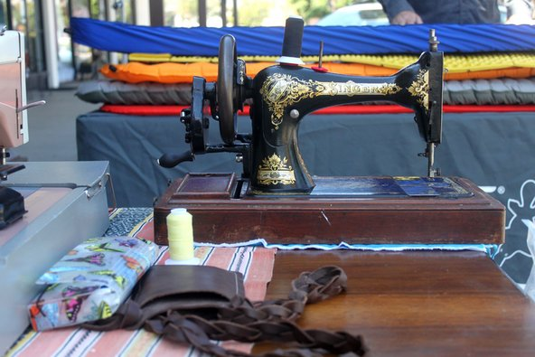Sewing machine at the Mountain Air repair clinic