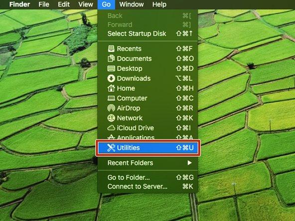 Under the Go pulldown menu, select Utilities.