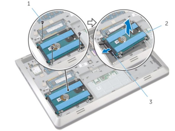 Place the hard-drive assembly in the base frame and align the screw holes on the hard-drive assembly with the screw holes on the base frame.