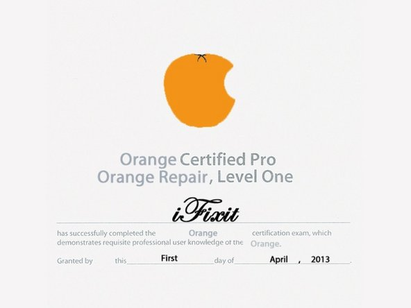 Orange teardown and repair certification