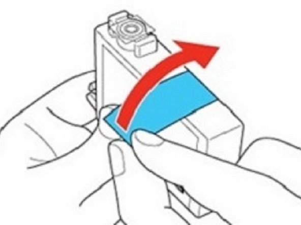 7. Remove the yellow tape from the bottom of the cartridge.