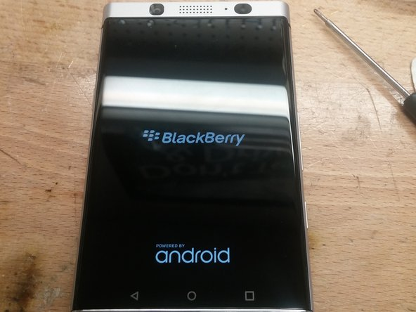 The start of our disassembly. The BlackBerry KEYone logo screen.